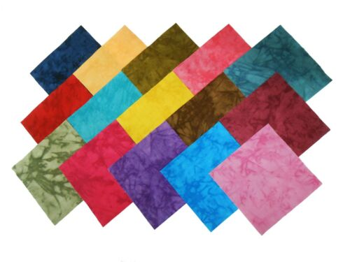 """60 5/"""" Quilting Squares RJR HAND SPRAY DESIGNER TIE DYE Charm pack-15 DIFF-4 EA"""
