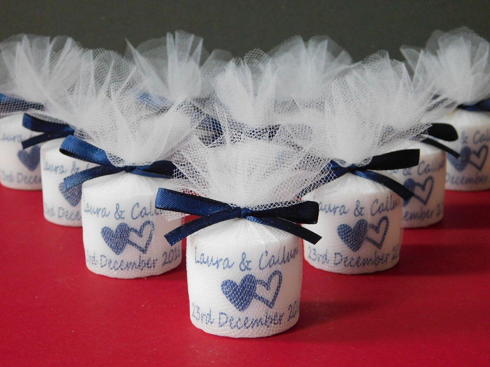 Personalised Votive Candle Wedding Favours Navy Satin Ribbon Set 50
