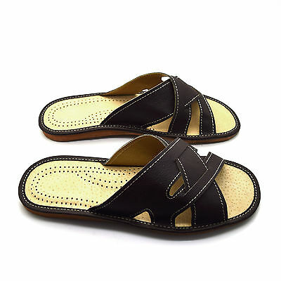 Para Hombres Cuero Zapatillas Resbalón en Zapatos Talla 6 7 8 9 10 11 12 Reino Unido Mulas Sandalias
