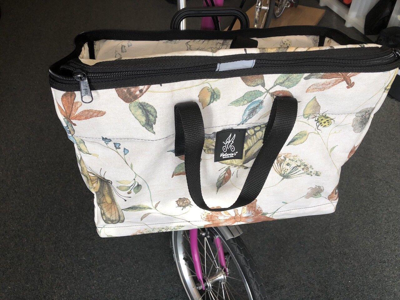 Brompton Folding Bike Front Basket, Improved Design - Butterflies