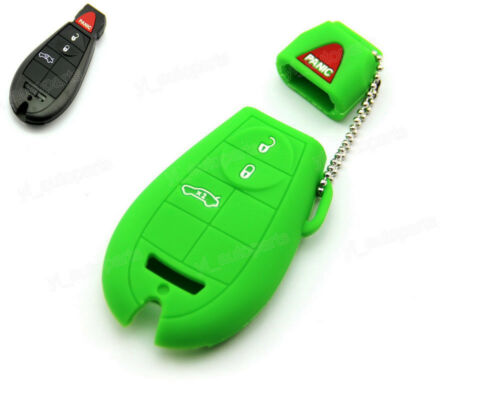 Green Silicone Case Cover For Chrysler Dodge Jeep VW Remote Smart Key CHRYGR