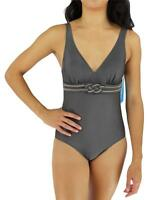 Ocean Jewel Women's Bathing Suit One Piece Slate Style:0j-2010 Size 12
