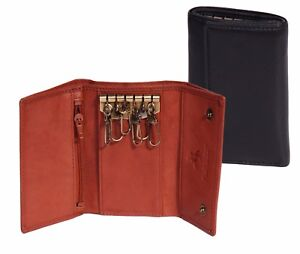 151bdffe9 Genuine Leather Keycase Trifold Six Key Ring Wallet Banknotes Holder ...