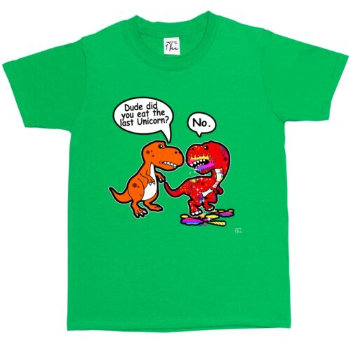 1Tee Kids Boys Dude Did You Eat The Last Unicorn T-Rex Dinosaur T-Shirt