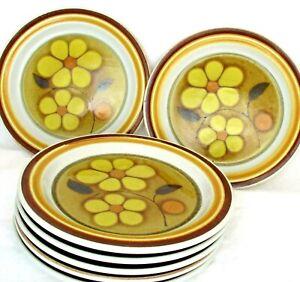 7-Vintage-ASCONS-Daisydale-8517-Stoneware-7-5-034-Plates-Yellow-Daisies-Japan