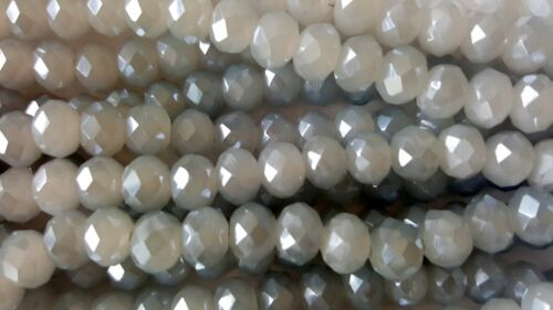 Joblot of 10 strings 8mm Grey AB solid Crystal beads new 720 beads