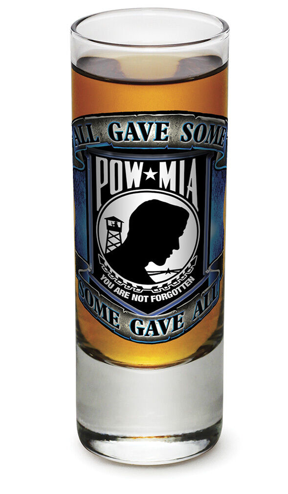 ALL GAVE SOME, SOME GAVE ALL - POW MIA- NEW-  2 OZ. SHOT GLASS
