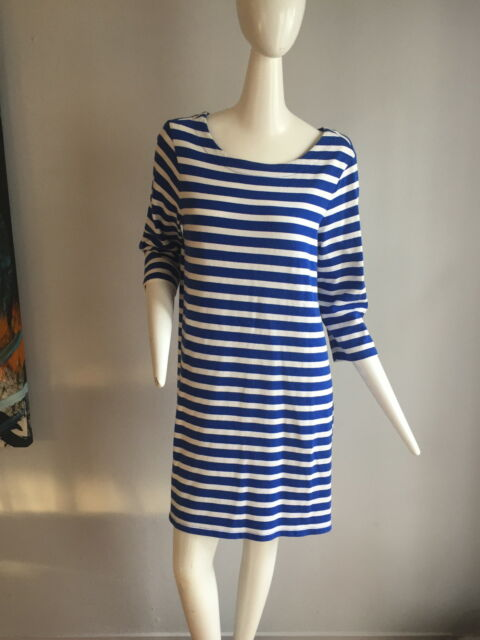The gap blue and white striped tee shirt dress with 3 4 sleeves  6e333c91acb9