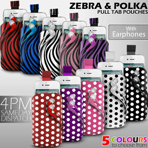 LEATHER-POLKA-amp-ZEBRA-PULL-TAB-CASE-POUCH-EARPHONE-FOR-VARIOUS-MOTOROLA-PHONE