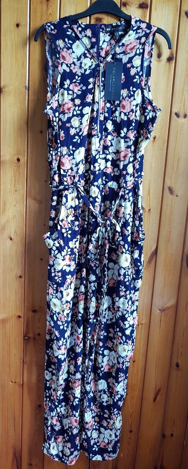 Mela London Ladies Multi zipper Floral print Jumpsuit with  the belt Size