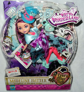 ever after high way too wonderland madeline hatter doll mib toy