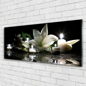 Glass-print-Wall-art-125x50-Image-Picture-Stones-Flower-Candles-Art