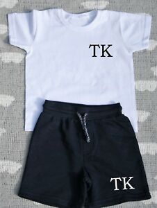 Personalised Name Shorts and T-shirt Toddle Tracksuit Kids Personalised Set Grey