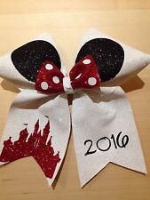 DISNEY PARIS GLITTER CHEER BOW CHEERLEADING + YOUR NAME ADDED TO YOUR BOW