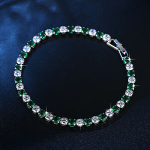 Charm-925-Silver-Round-Emerald-Zircon-Bangle-Bracelet-Women-Jewelry-Wholesale