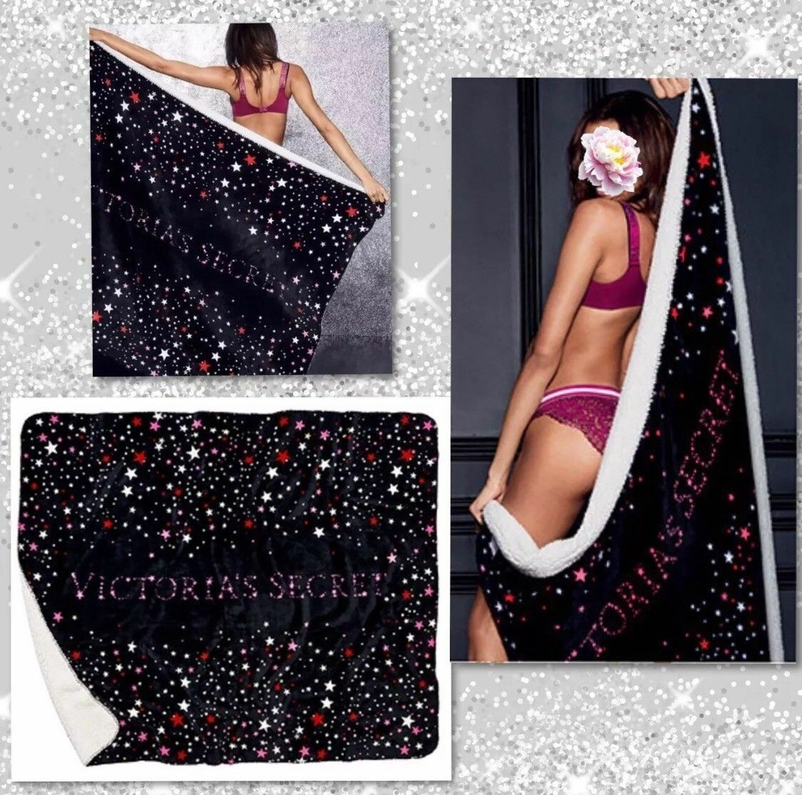 BRAND NEW SHERPA STARS BLANKET Victoria's Secret 50 x 60 in Limited Ed