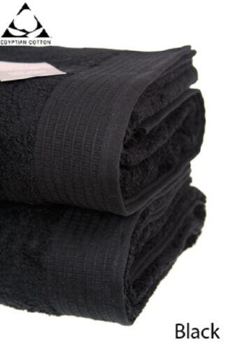 100/% pur coton égyptien serviette 650gsm Bain Jumbo Noir Paire de feuille