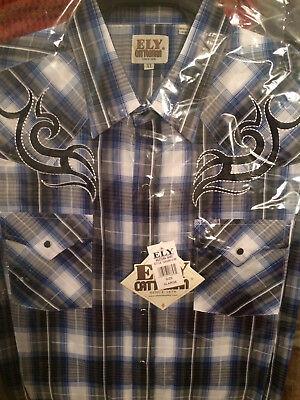 Western Shirt Men/'s Ely Cattleman Long Sleeve Blue//Orange//White 152029040-99