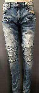 Jet Black Men/'s Kilogram Jeans with Distress Pattern