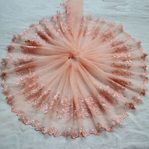 9-034-2Yds-Deep-Pink-Embroidered-Floral-Tulle-Lace-Trim-Mesh-Embroidery-Lace