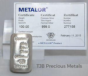 100g Metalor Silver Bar 999 0 Fine Silver With