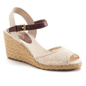 d7cb03ace Image is loading Chaps-Damara-Slingback-Crochet-Espadrille-Wedge-Sandals- Shoes-