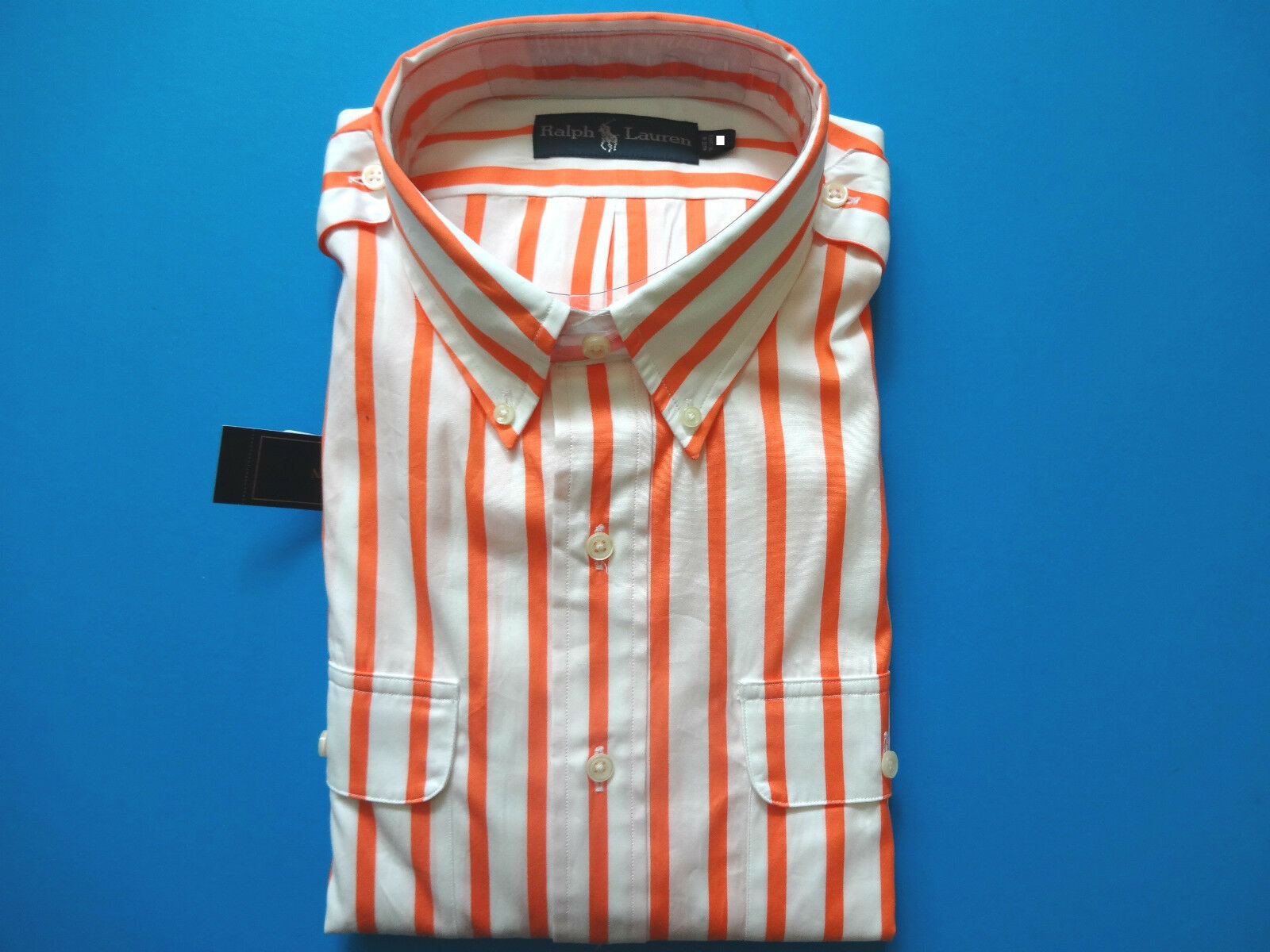 New Ralph Lauren Polo orange Striped 100% Cotton Button Up Summer Shirt Slim L