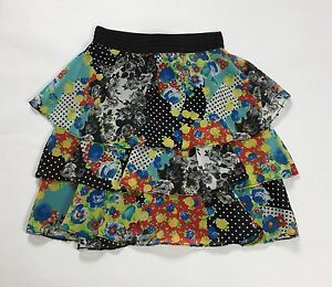 La-vie-en-rose-gonna-minigonna-L-tg-44-usato-floreale-estiva-skirt-falda-T1968