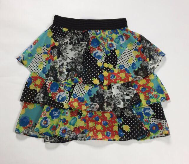 La vie en rose gonna minigonna L tg 44 usato floreale estiva skirt falda T1968