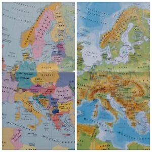 Landkarte Deutsch.Details Zu Landkarte Europa Deutsch Englisch Physisch Politisch A2 Plakat Karte Poster Eu