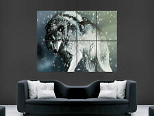 WILD WOLF ANGRY SNOW   ART IMAGE HUGE  LARGE PICTURE POSTER GIANT