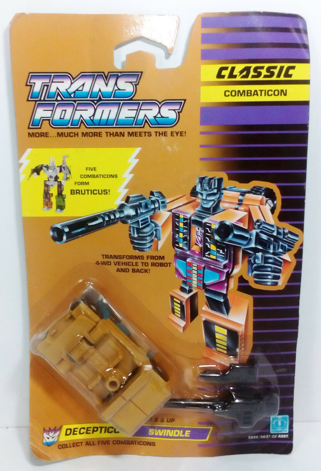 VTG 1990 TRANSFORMERS SWINDLE G1 COMBATICON BRUTICUS EUROPEAN MOSC MOC UNUSED