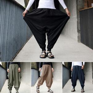 Men-039-s-Harem-Baggy-Pants-Trousers-Cotton-Linen-Loose-Yoga-Casual-Boho-Fashion