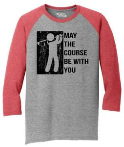 344d05e7 Mens May The Course Be With You Funny Golf Tee 3/4 Triblend Spoof ...