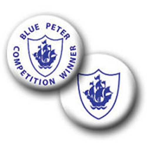 38mm or 58mm RETRO FUN BLUE PETER PIN BADGES GREAT FOR FANCY DRESS 25mm