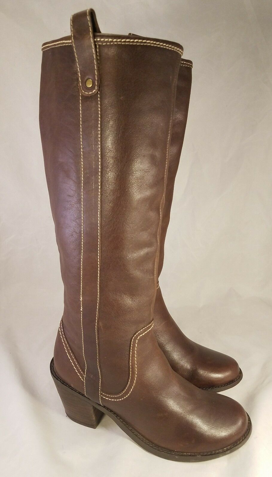 STEVE MADDEN WOMAN LEATHER BOOTS CAMP  TALL BROWN TALL  RIDING EQUESTRIAN 6 B d4f9a9