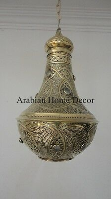 Handcrafted Moroccan Gold Brass Jeweled Hanging Pendant Light Lamp