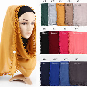 Women-Ladies-Cotton-Scarf-Balls-Scarf-Plain-Color-Shawls-Hijab-Muslim-Head-Wrap