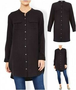 New-Ex-Monsoon-Black-Long-Cotton-Blouse-Casual-Shirt-Size-8-22-Kylie-RRP-49