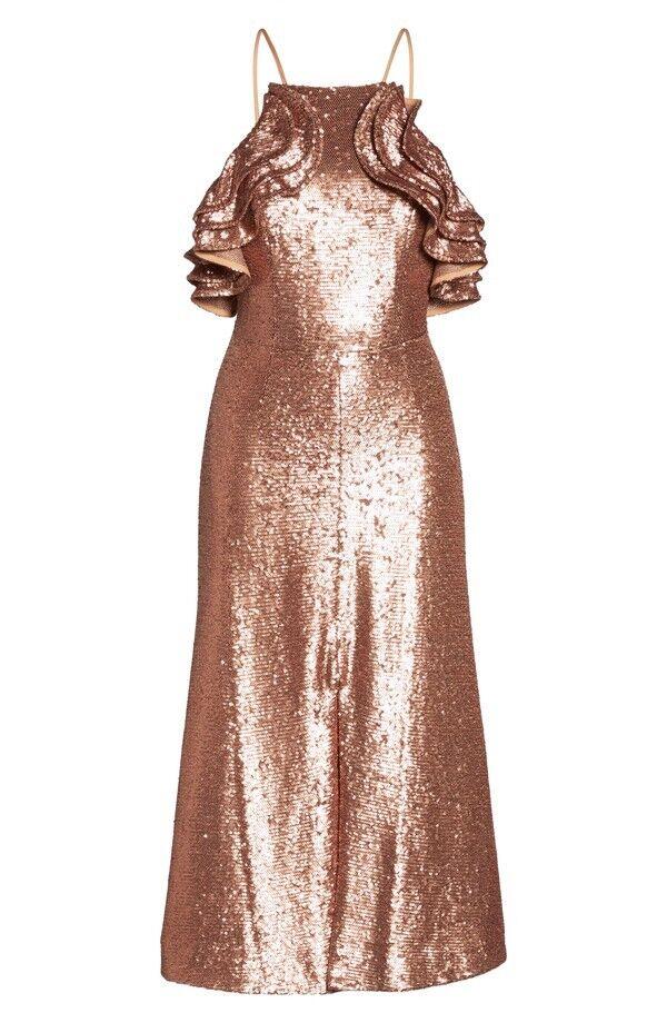 C MEO Collective Illuminated Sequin Ruffle Midi Dress SZ S Copper Rosa Gold NWT