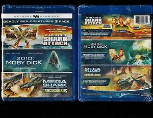 2 Headed Shark Attack, Moby Dick, Mega Shark Vs Crocosaurus-Brand New Blu Ray