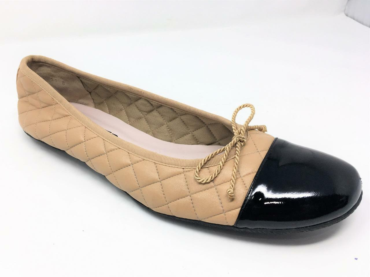 229 Paul Meyer 11 Beige Quilted Ballet Flats Bows Black Cap