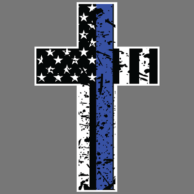 Thin Blue Line Cross Vinyl Sticker Car Truck Window Decal Police Officer Lives