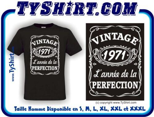 Tee Shirt Vintage 1971 Anniversaire style Whisky   S M L XL XXL XXXL