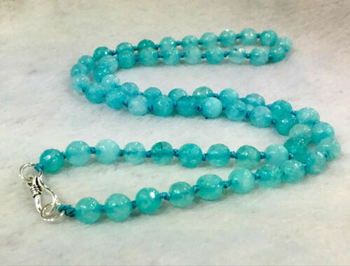 """New 6mm Faceted Blue Aquamarine Gemstone Necklace 18/"""" AAA"""