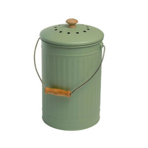Eddingtons 7 Litre Compost Pail, Sage Indoor Kitchen Recycling Composting Bin
