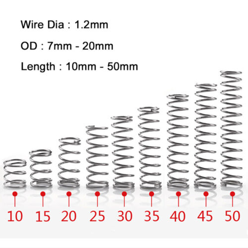 10Pcs Wire Dia 1.2mm 304 Stainless Steel spring OD 7mm-20mm Compression springs
