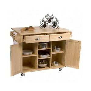 Kitchen Center Island Rolling Storage Cabinet Cart Movable Wooden Stand Hardwood Ebay