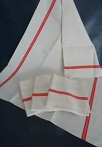 Four French Vintage Striped Linen Towels Unused – Vintage Fabric