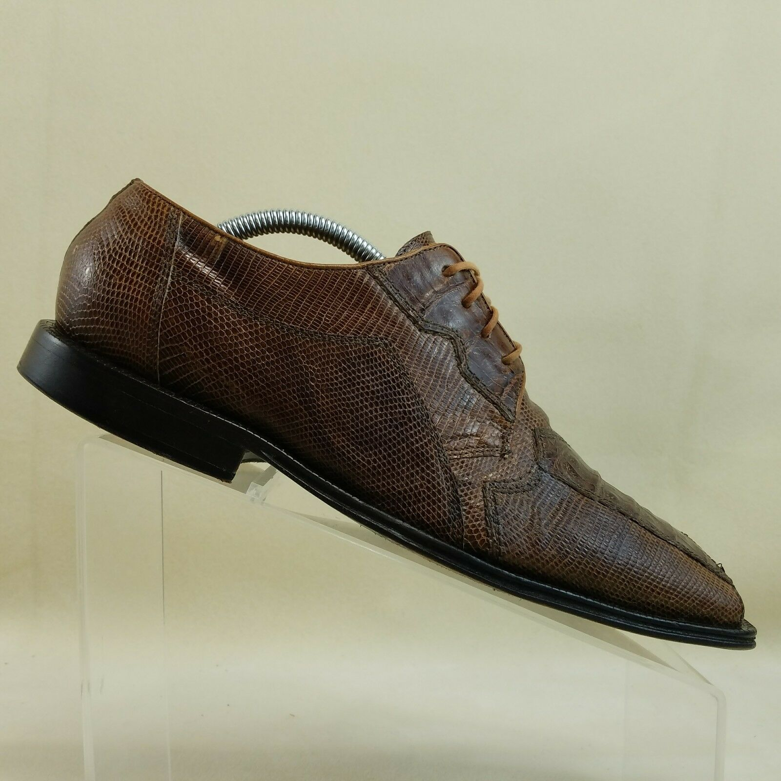 David Eden Mens shoes Size 9 Genuine Crocodile Lizard Brown Handmade Oxfords  F79
